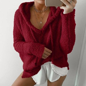 Fluffy Plush Deep V-Neck Winter Hoodie Sweater