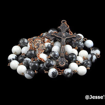 Catholic Rosary Beads Onyx Marble AKA Zebra Jasper Copper Natural Stone Traditional Rustic Five Decade Catholic Gift