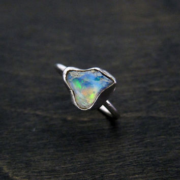 Raw Natural Welo Ethiopian Opal Ring 1.20 Carat Alternative Engagement