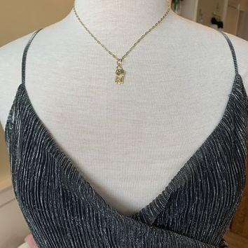 Sterling Silver Gold Three Key Necklace