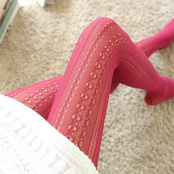 2018 Fashion Hollow Mesh Lace Vertical Strips Pantyhose Sexy Women Chiffon Tights For Female Spring Autumn