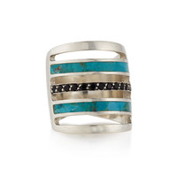 Pamela Love Silver Turquoise-Inlay Ring with Black Spinel