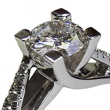 Ready to be Shipped within 3 days D color Engagement Ring Cathedral Ring Unique Diamond Ring 14 kt White Gold