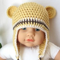 Cotton Newborn Baby Child Beanie with Earflap