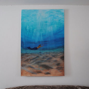 Acrylic painting of a mermaid under water on canvas - acrylic painting Mermaid Ocean