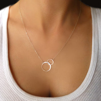 Infinity Necklace - Interlocking Hoop Necklace Gold or Silver - Small Double Circle Necklace - Linked Eternity Necklace - Gift Necklace