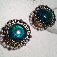 "Vintage Bronze Crest Plugs with Green Stone 10mm (3/8"") (00g) 12mm (1/2"") 14mm (9/16"") 16mm (5/8"") 18mm (11/16"") (BSD116)"