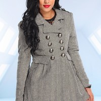 BLACK WHITE PRINT BUTTON ACCENT POCKETS WOOL COAT