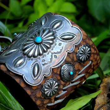 Bracelet Cuff Sterling Silver Buffalo Leather Turquoise stone Native American Ethnic American Indian