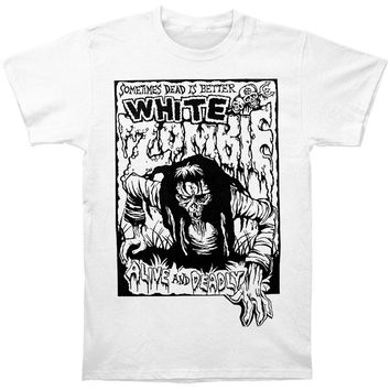 White Zombie Men's  Alive And Deadly T-shirt White