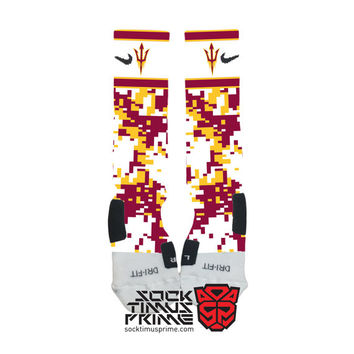 Custom Nike Elite Socks - ASU Arizona State Sun Devils Custom Nike Elites - ASU Socks, Arizona State Socks, Custom Elites, Nike Elites