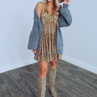 Fall Into Fall Cardigan: Blue Grey