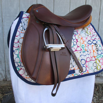 English All-Purpose Saddle Pad:  Glasses Print