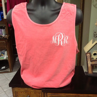 Monogrammed Three Initial Comfort Color Tank Top