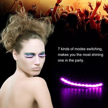 Waterproof Flash LED Luminous false Eyelashes Strips Voice Control  Makeup Light Sticker For Party Costume Halloween Club Bar