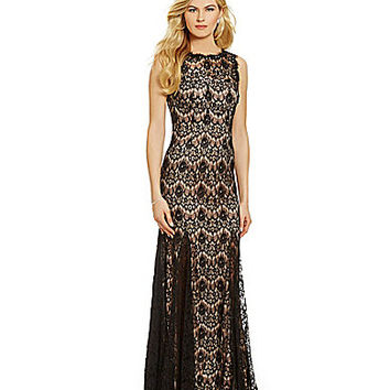 Betsy & Adam Illusion Lace Gown - Black/Nude