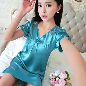 2018 new fashion women ladies satin lace lingerie sleepwear nightgown night dress sexy lingerie