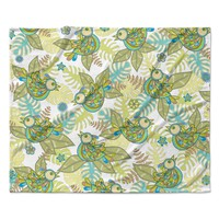 "Julia Grifol ""Summer Birds"" Green Lime Fleece Throw Blanket"