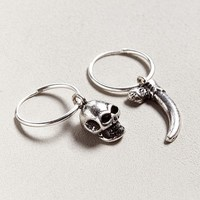 Riakoob Silver Skull Dangle Hoop Earring | Urban Outfitters