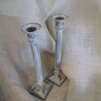 Set of Two Distressed white Candle Holders, Rustic Home Decor, Cottage Home Decor, Shabby Home Decor, Cottage Chic