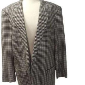 vintage Mens HOUNDSTOOTH Chinese Custom Hand Tailored Blazer Jacket Size  44