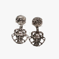 RARE Vintage Coro Moon & Baphomet Earrings / 1950s Devilish Silver Dangle Clip Earrings Signed