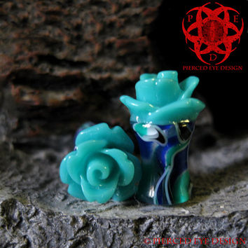 6g, 4g, 2g Teal Rose Flower Swirl Ear Plugs, Gauges Plugs, Teal Flowers, Wedding Plugs, Ear Gauges, Rose Plugs,  Pierced Eye Design