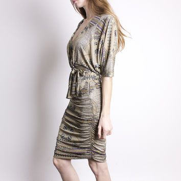 Mara Hoffman Olive Silk Feather Print Dress