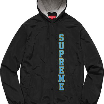 Supreme 17ss Vertical Logo Hooded Coaches Jacket S-XL - Black