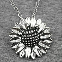 Women Sunflower Silver Necklace