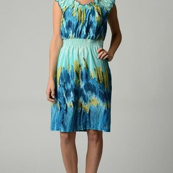 Women's Printed Midi Peasant Dress