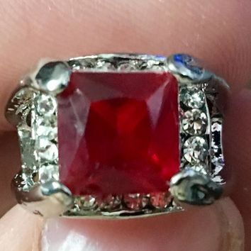 Square Red Fashion Ring Size 7