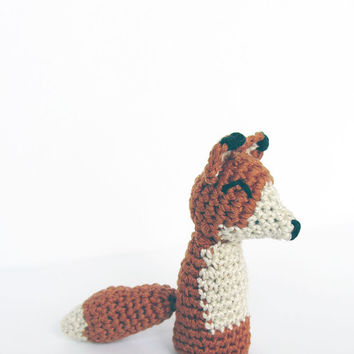 Pattern for Handmade Crochet Amigurumi Fox Finger Puppet