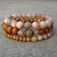 Independence and Joy, Sunstone and sandalwood mala bracelet stack