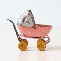 Vintage Doll Carriage - Miniature Pink Toy Baby Pram