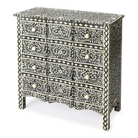 Victoria Traditional Bone Inlay Drawer Chest Black