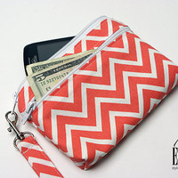 Large iPhone / Samsung Galaxy, Wristlet Wallet with Removable Strap -Mini Coral Chevron