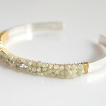 Diamond Bangle Bracelet, Rough Cut Diamond Bracelet, Silver Bangle Bracelet, Bridal Jewelry