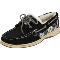 Sperry Top-Sider Women`s Bluefish Shearling Flat,Black,6.5 M US