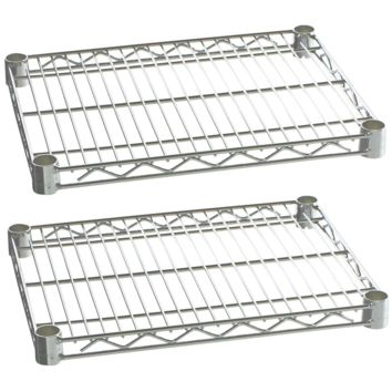 "Commercial Kitchen Heavy Duty Chrome Wire Shelves 18"" x 48"" with Clips (Box of 2)"