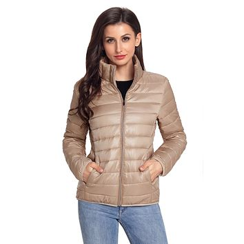 Chicloth Khaki High Neck Quilted Cotton Jacket