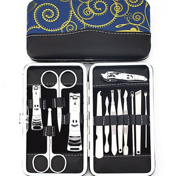 13 Pieces Vortex Box and Face Design Alloy Nail Clippers Nail Art Tools