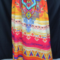 Flying Tomato Maxi Skirt-Orange multi
