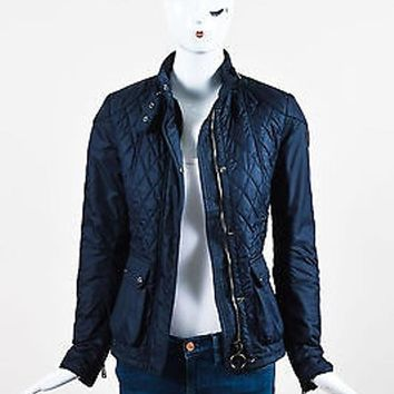 Belstaff Navy Blue Nylon Quilted Zipped Aynsley Jacket