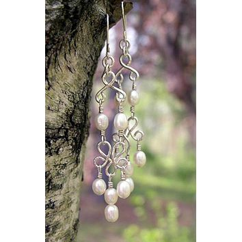 Pearl Chandelier Earrings | Wedding Earrings | Bridal Chandelier Earrings