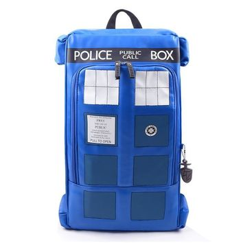 Doctor Dr Who Large Tardis Police Box Backpack Bag Call Box PU Leather with tag