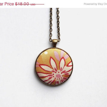 VALENTINES DAY SALE Mustard Yellow Floral Necklace, Fabric Button Pendant, White and Red Flower, Eco Jewelry, Boho Chic Necklace, Long C