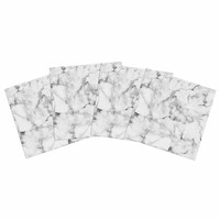"Kess Original ""White Marble"" Gray White Indoor/Outdoor Place Mat (Set of 4)"