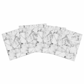 """Kess Original """"White Marble"""" Gray White Indoor/Outdoor Place Mat (Set of 4)"""