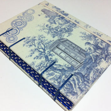 DOCTOR WHO Toile Fabric Handmade Journal Notebook - Tardis Box & Dalek - Coptic Stitched
